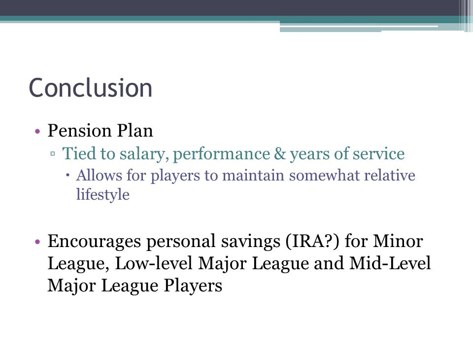 Conclusion Pension Plan