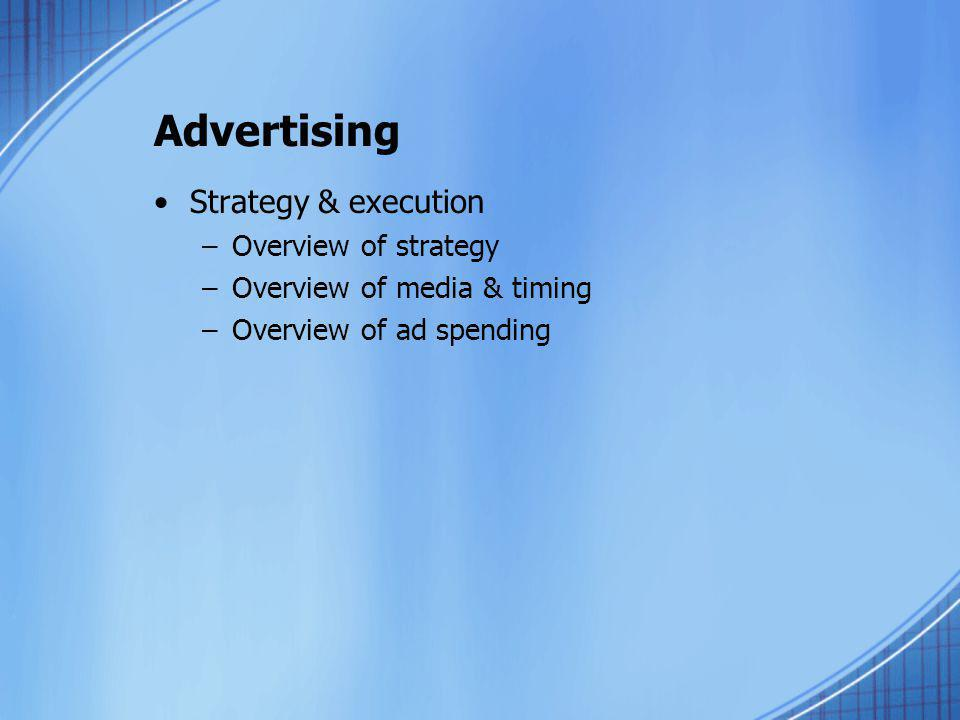 Advertising Strategy & execution Overview of strategy