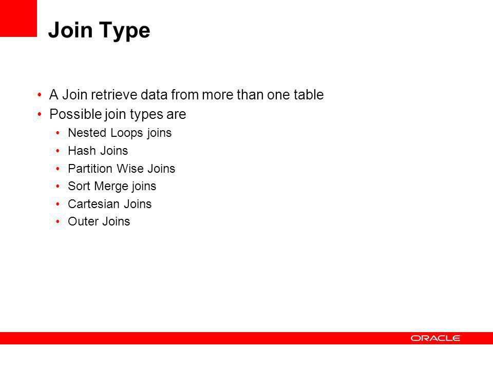 Join Type A Join retrieve data from more than one table