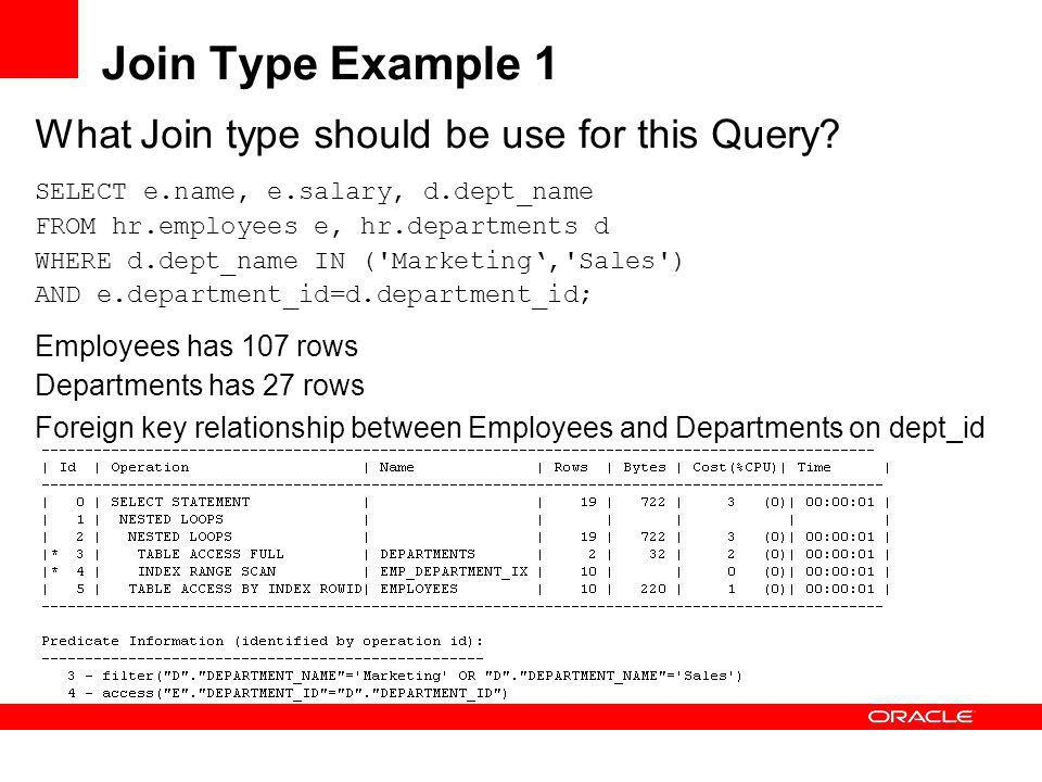 Join Type Example 1 What Join type should be use for this Query