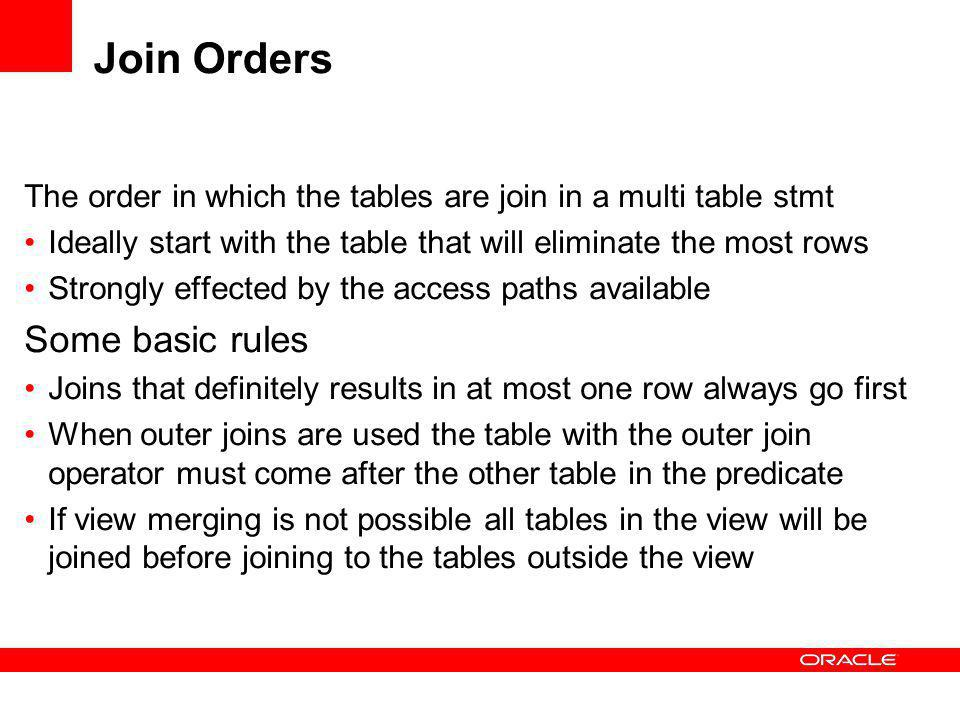 Join Orders Some basic rules