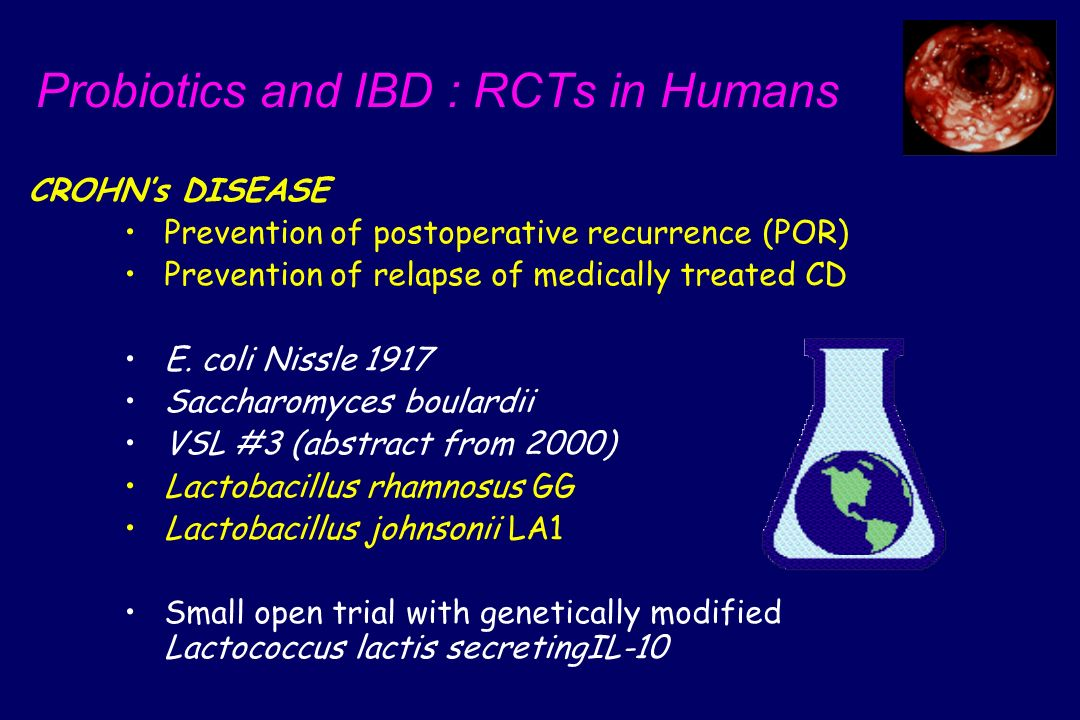 Probiotics and IBD : RCTs in Humans