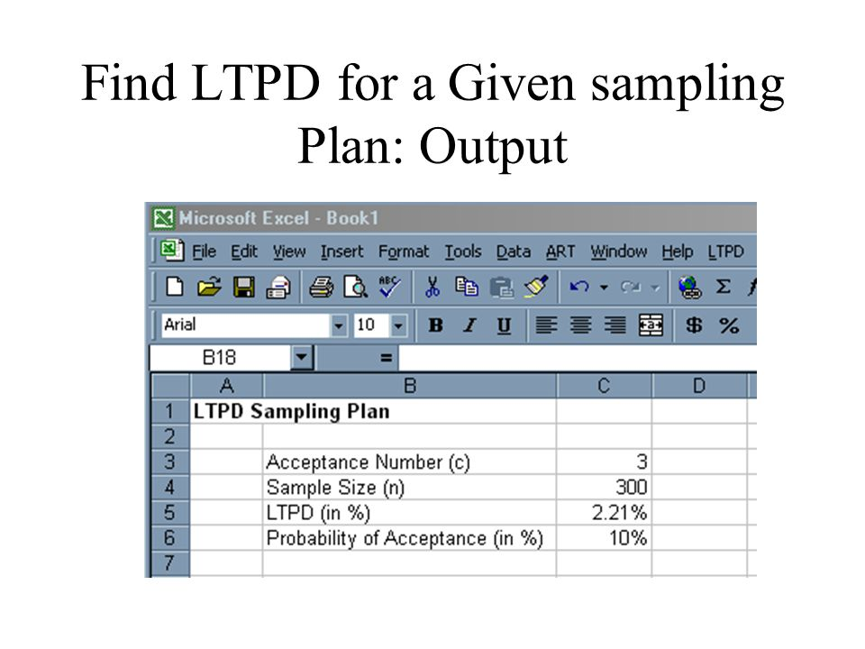 Find LTPD for a Given sampling Plan: Output