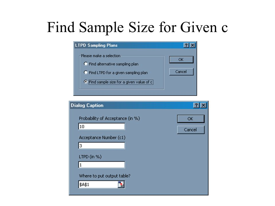 Find Sample Size for Given c