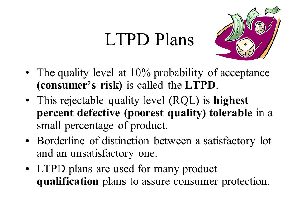 LTPD Plans The quality level at 10% probability of acceptance (consumer's risk) is called the LTPD.