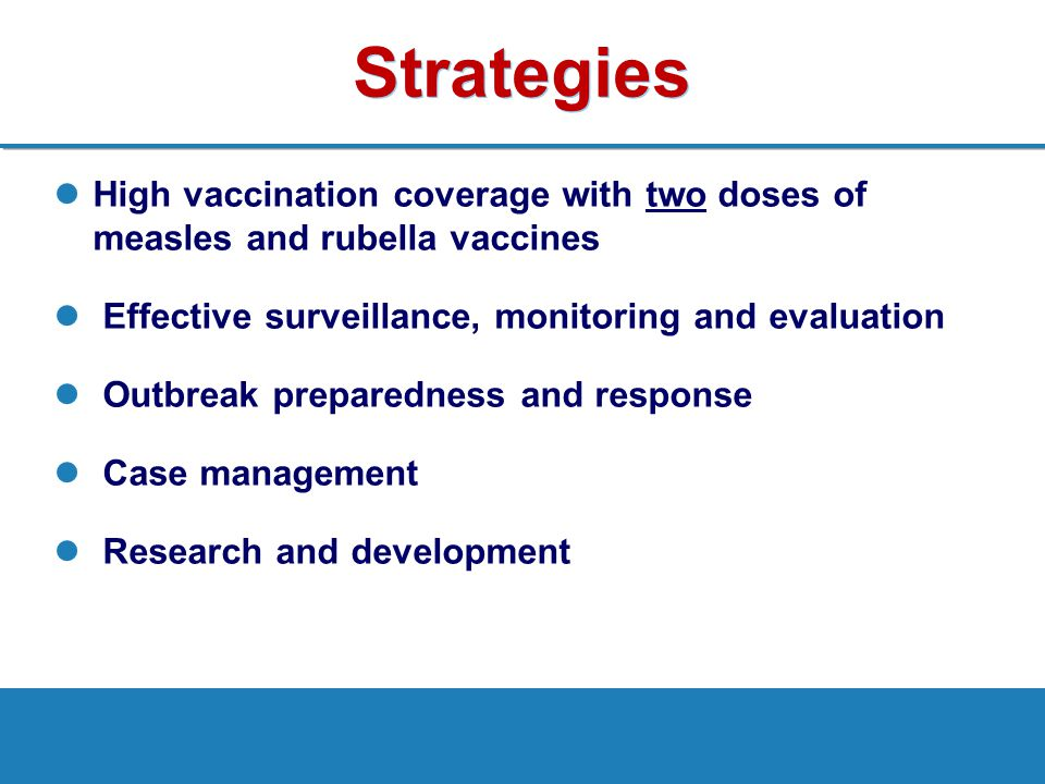 Strategies High vaccination coverage with two doses of measles and rubella vaccines. Effective surveillance, monitoring and evaluation.
