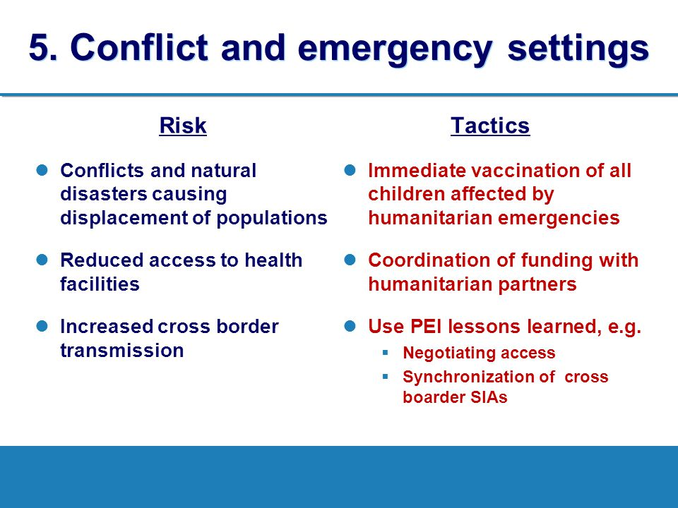 5. Conflict and emergency settings