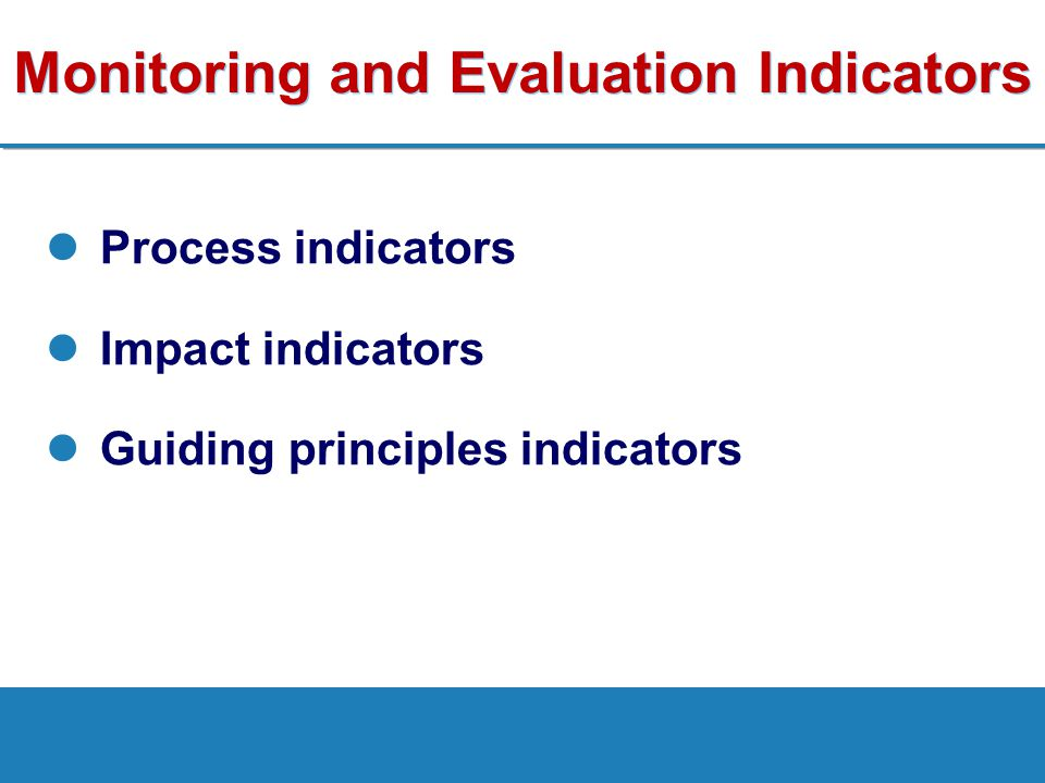 Monitoring and Evaluation Indicators