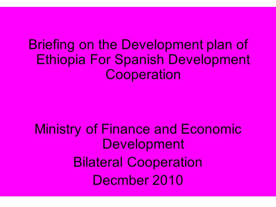 Ministry of Finance and Economic Development Bilateral Cooperation