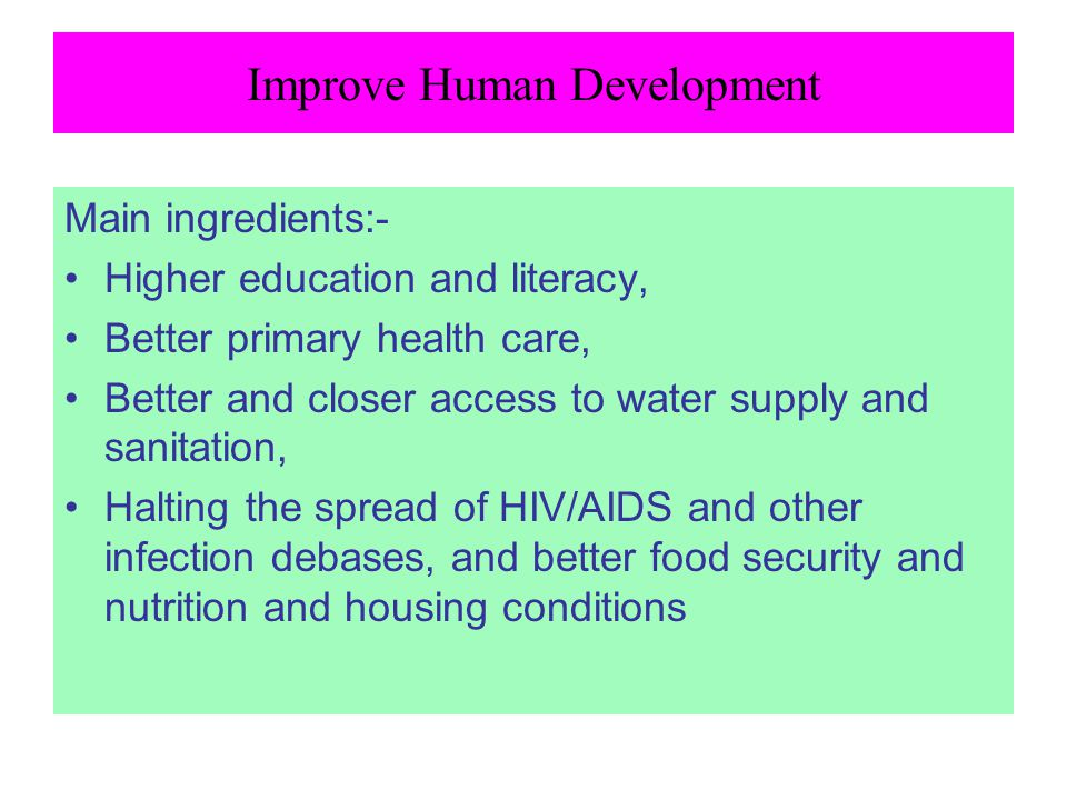 Improve Human Development
