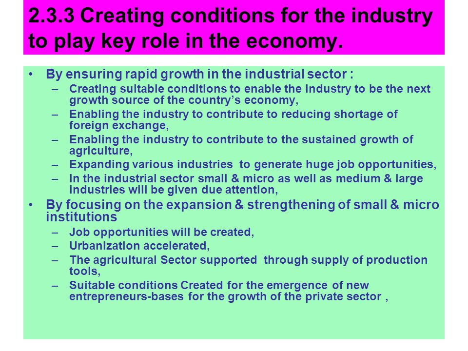 2.3.3 Creating conditions for the industry to play key role in the economy.