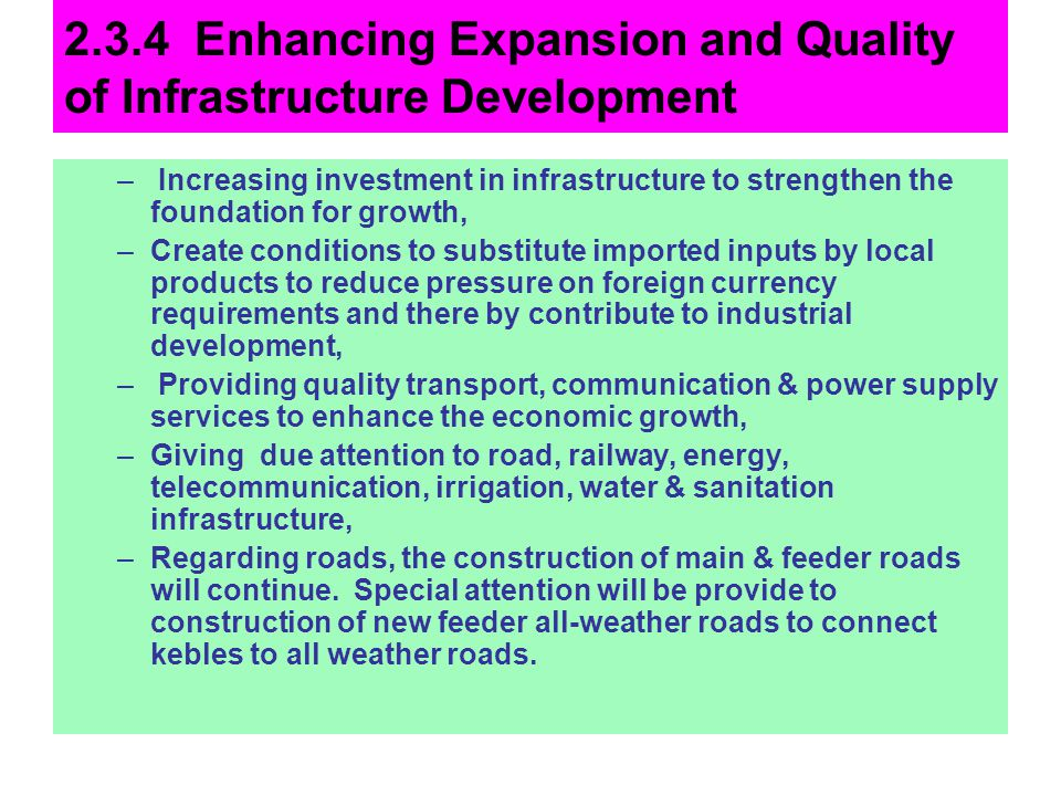 2.3.4 Enhancing Expansion and Quality of Infrastructure Development