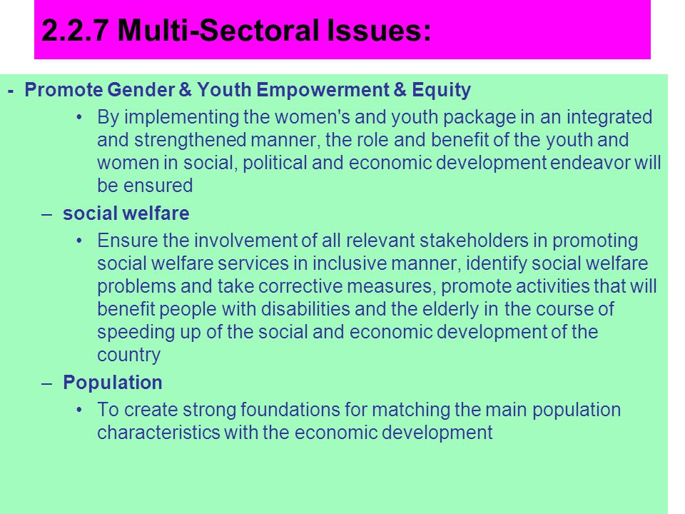 2.2.7 Multi-Sectoral Issues: