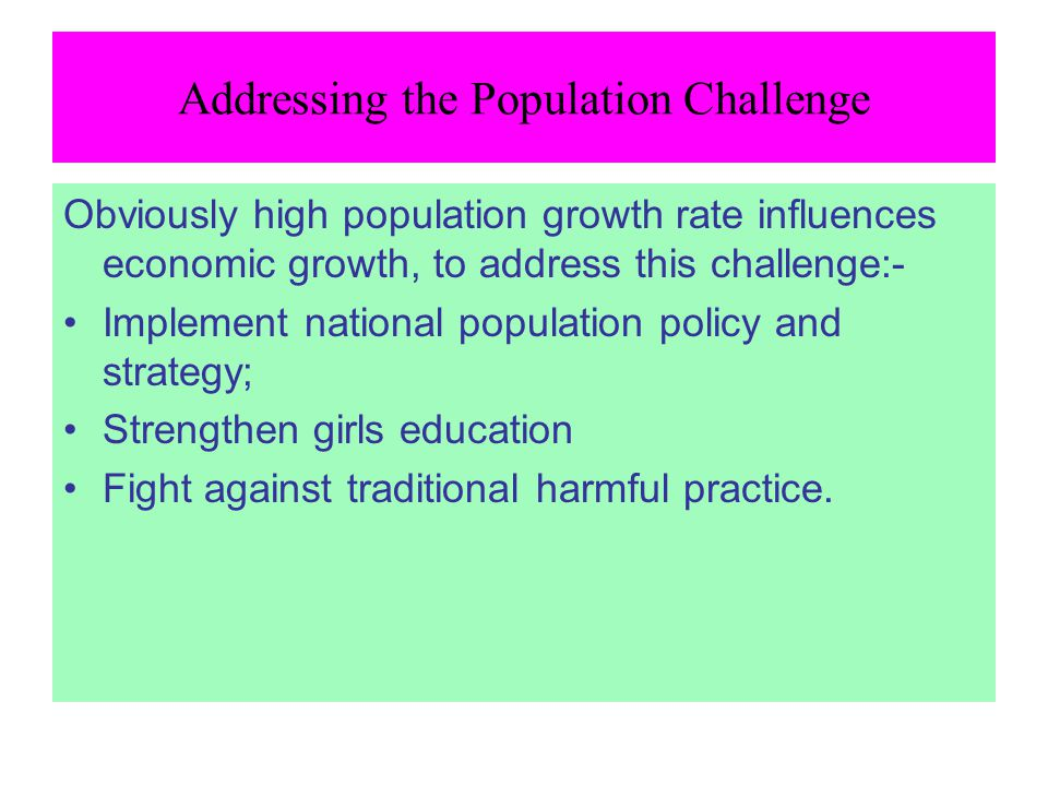 Addressing the Population Challenge
