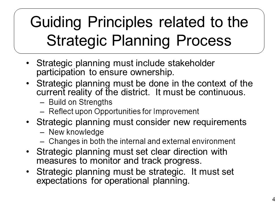 Guiding Principles related to the Strategic Planning Process