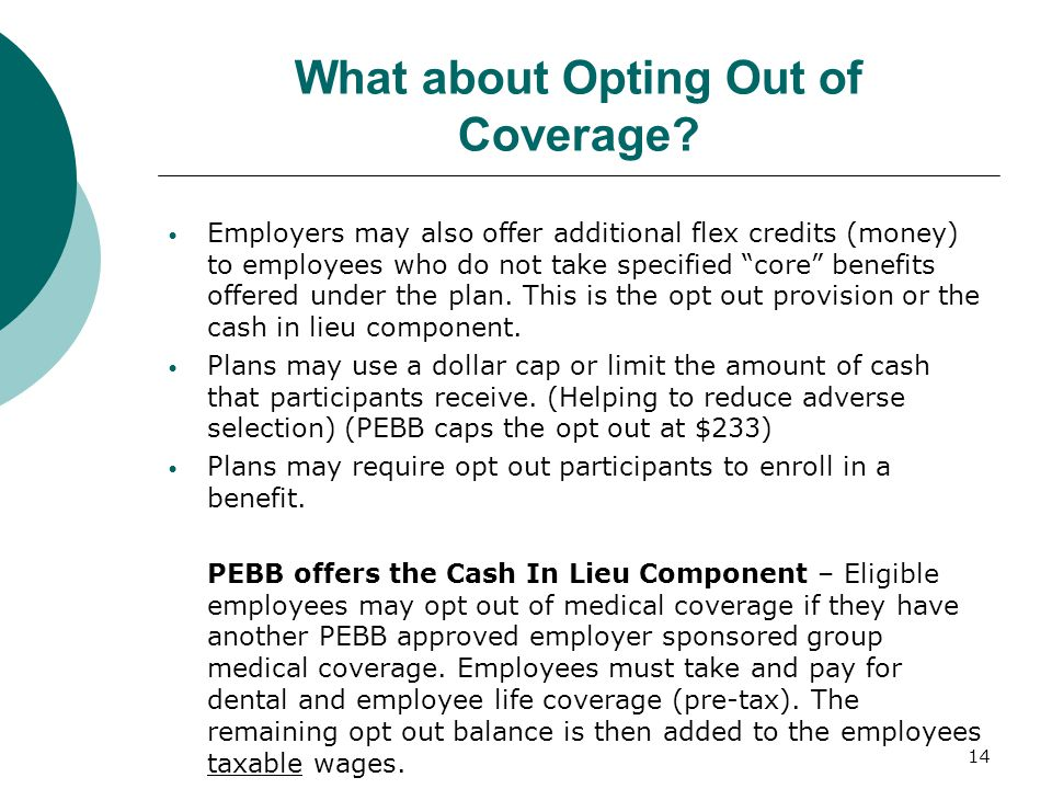 What about Opting Out of Coverage