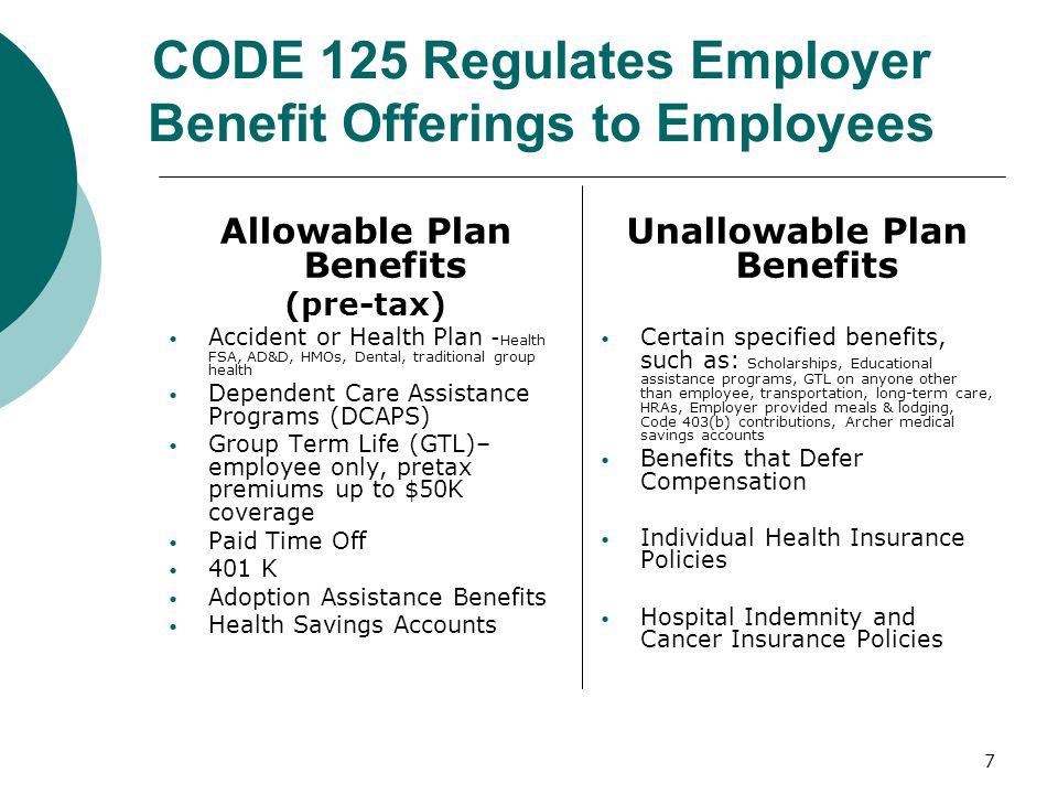 CODE 125 Regulates Employer Benefit Offerings to Employees