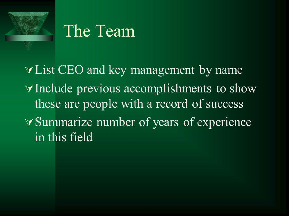 The Team List CEO and key management by name