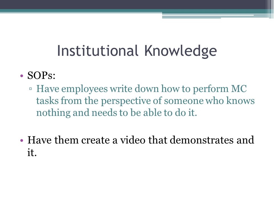 Institutional Knowledge