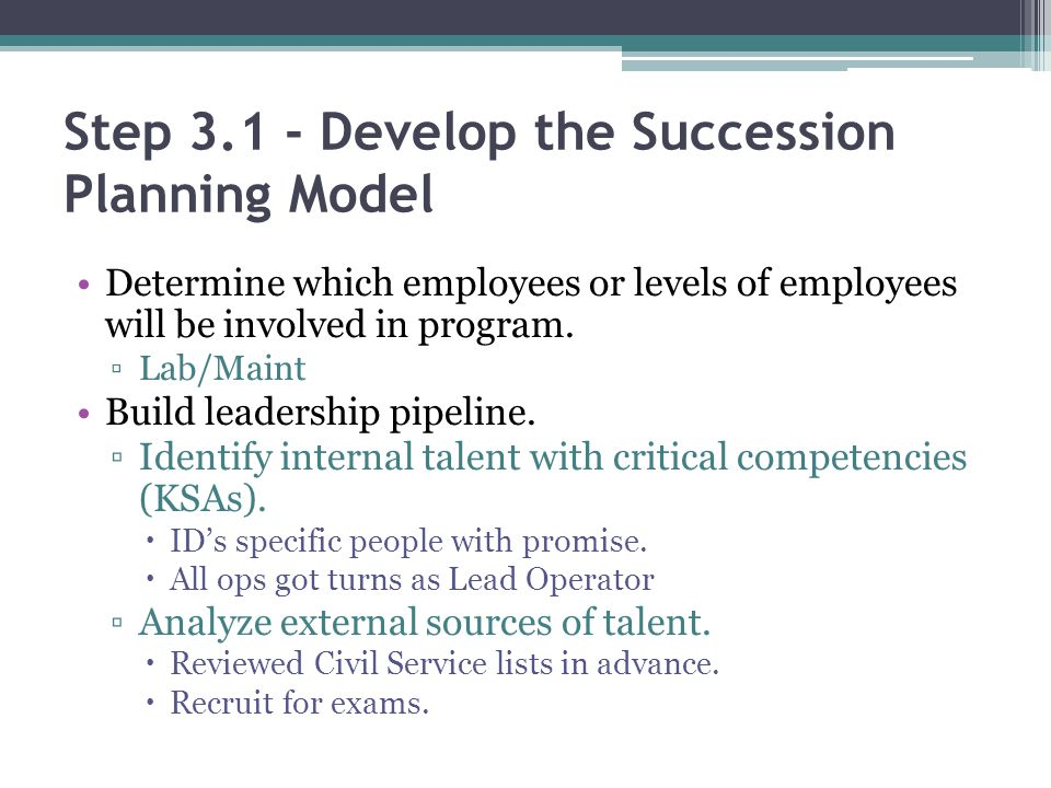 Step 3.1 - Develop the Succession Planning Model