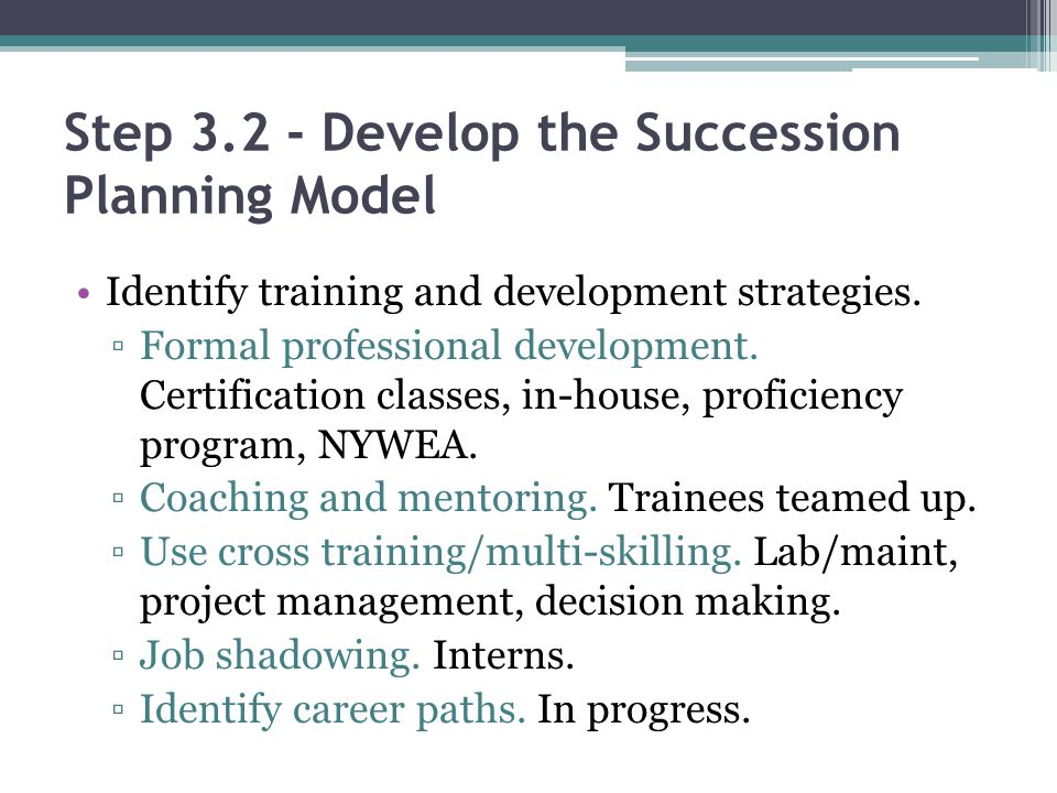 Step 3.2 - Develop the Succession Planning Model