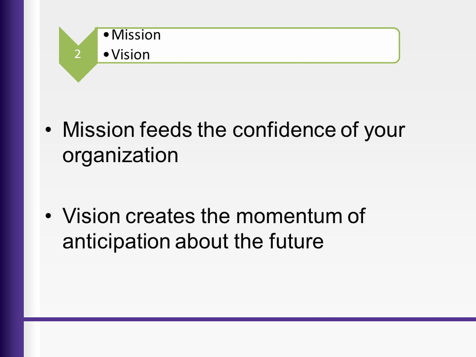 Mission feeds the confidence of your organization
