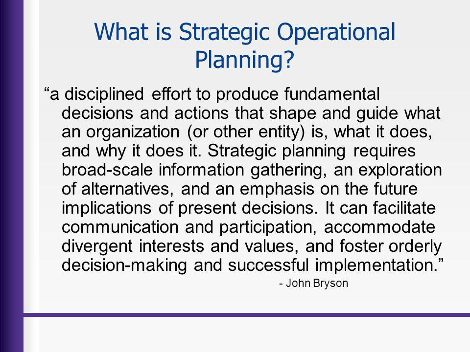 What is Strategic Operational Planning