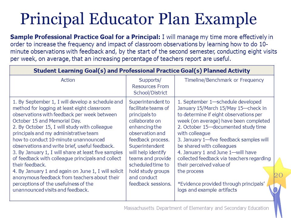 Principal Educator Plan Example