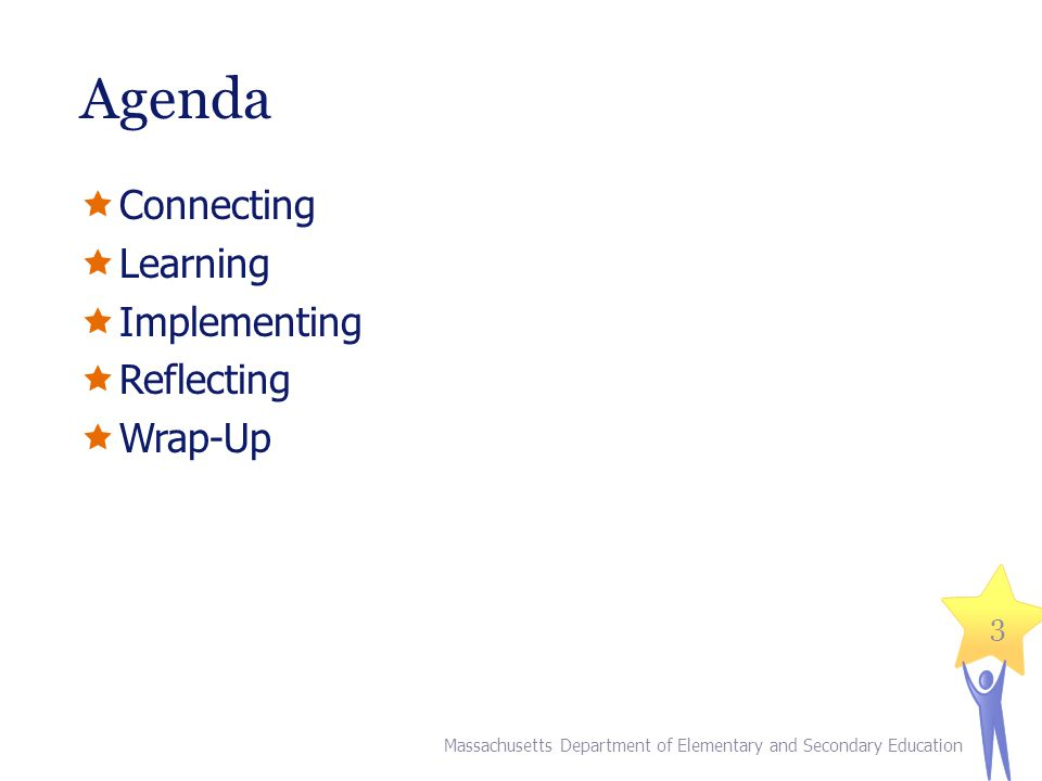 Agenda Connecting Learning Implementing Reflecting Wrap-Up Explain: