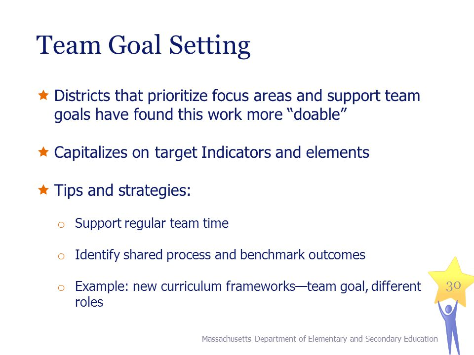 Team Goal Setting Districts that prioritize focus areas and support team goals have found this work more doable