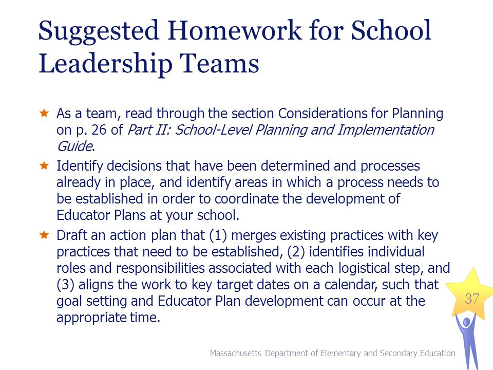 Suggested Homework for School Leadership Teams