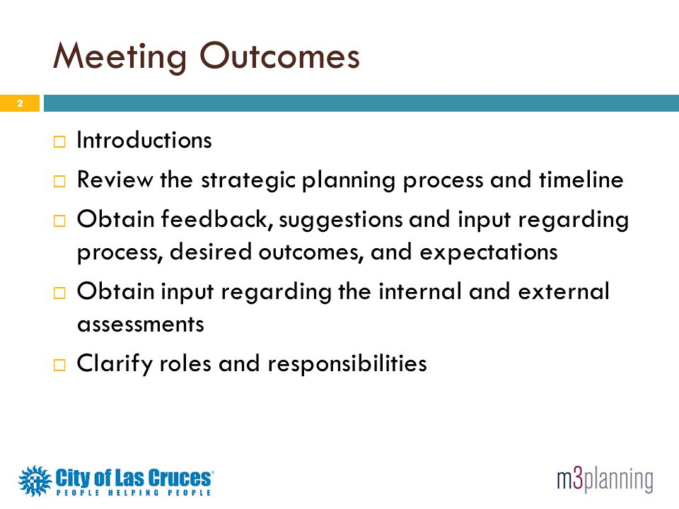 Meeting Outcomes Introductions