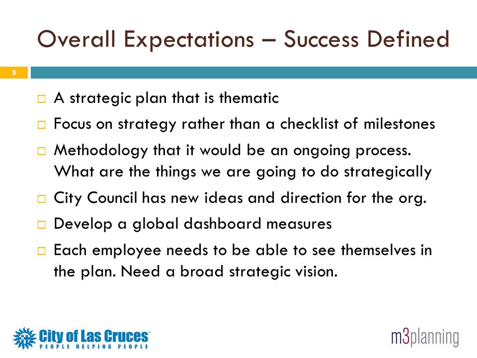 Overall Expectations – Success Defined