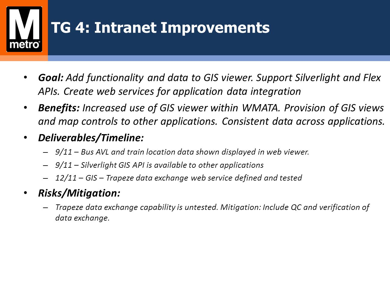 TG 4: Intranet Improvements