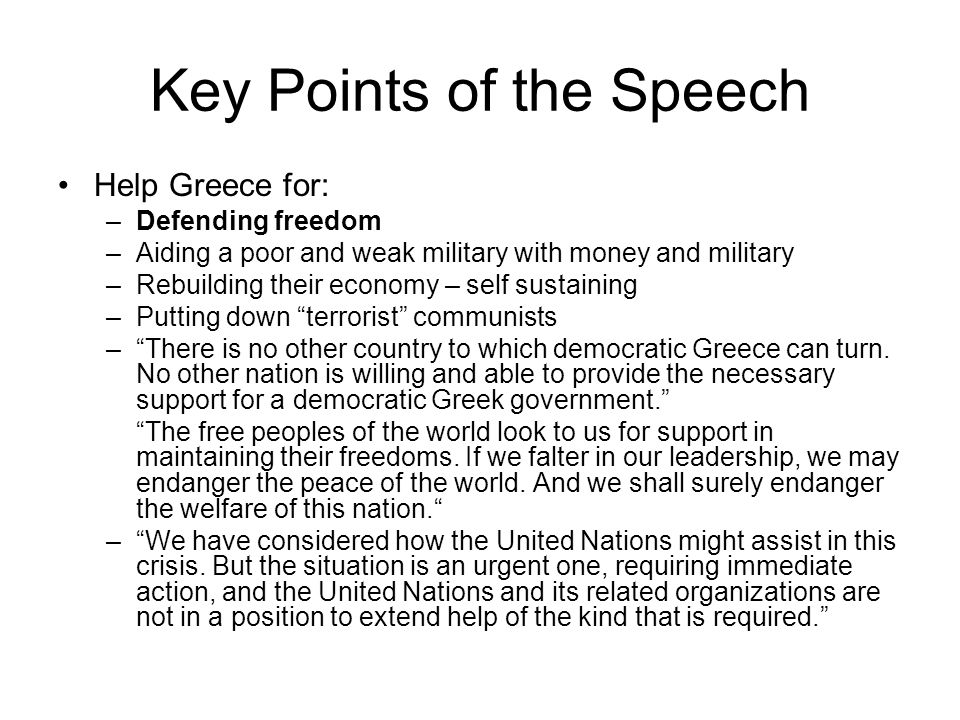 Key Points of the Speech