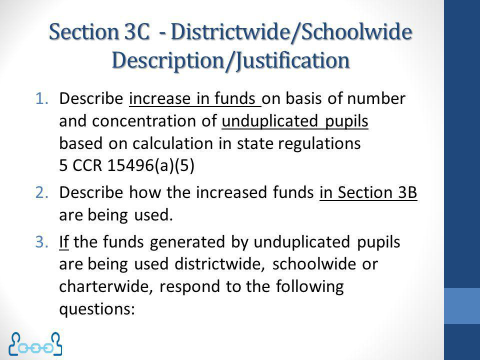 Section 3C - Districtwide/Schoolwide Description/Justification