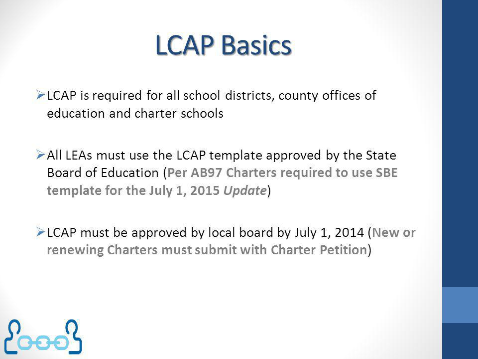 LCAP Basics LCAP is required for all school districts, county offices of education and charter schools.