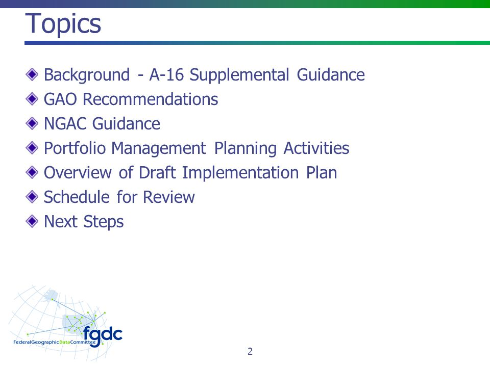 Topics Background - A-16 Supplemental Guidance GAO Recommendations
