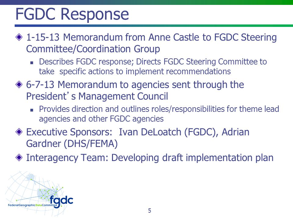 FGDC Response Memorandum from Anne Castle to FGDC Steering Committee/Coordination Group.