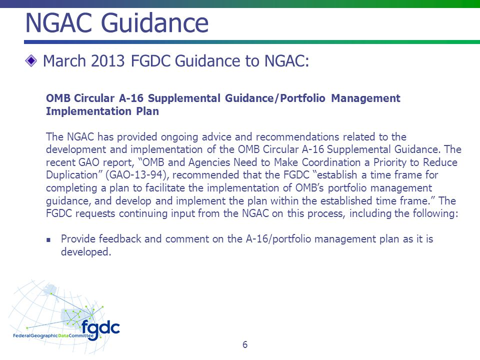 NGAC Guidance March 2013 FGDC Guidance to NGAC: