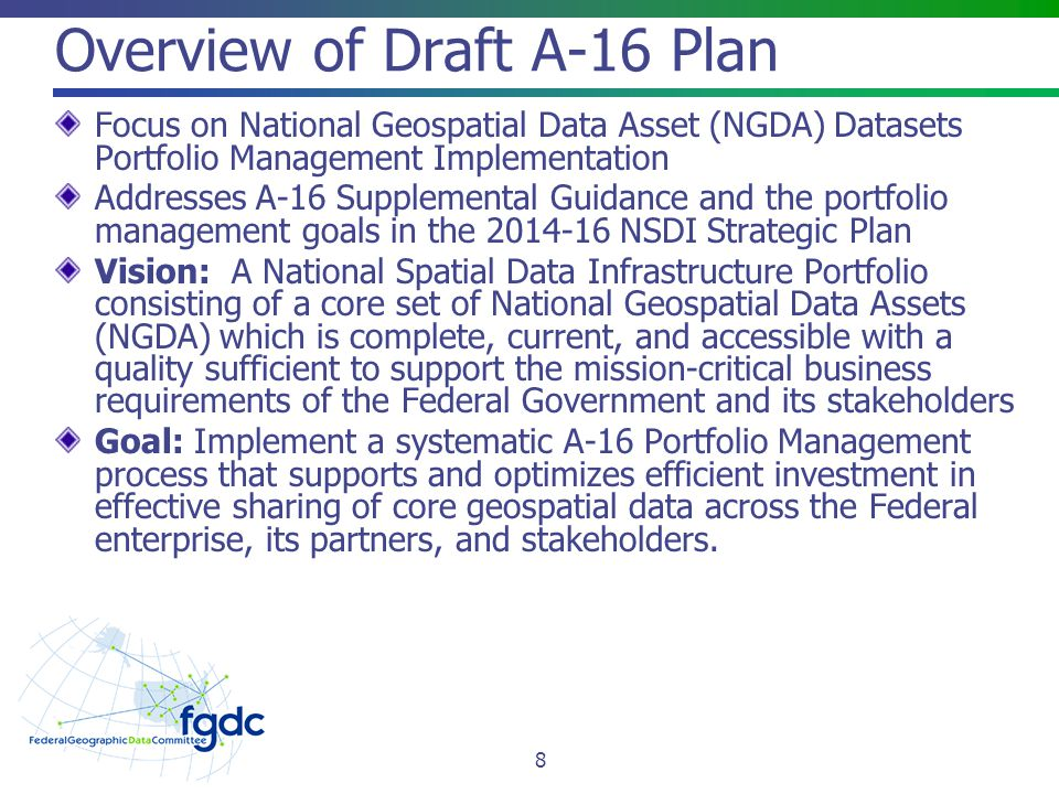 Overview of Draft A-16 Plan