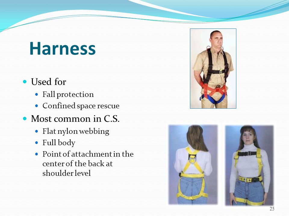 Harness Used for Most common in C.S. Fall protection