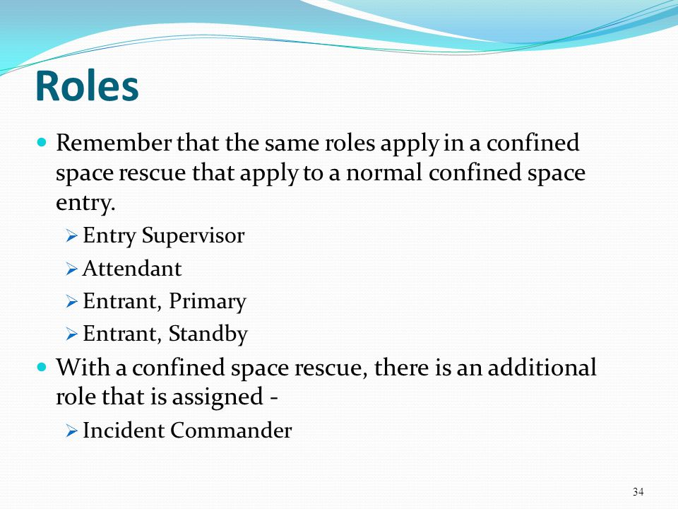 Roles Remember that the same roles apply in a confined space rescue that apply to a normal confined space entry.