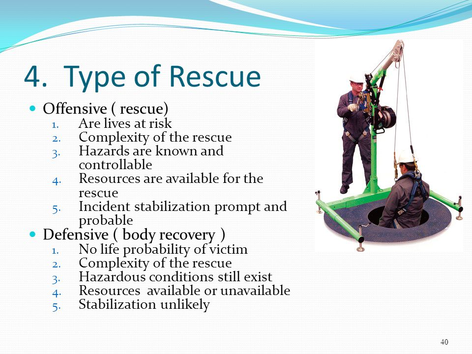 4. Type of Rescue Offensive ( rescue) Defensive ( body recovery )