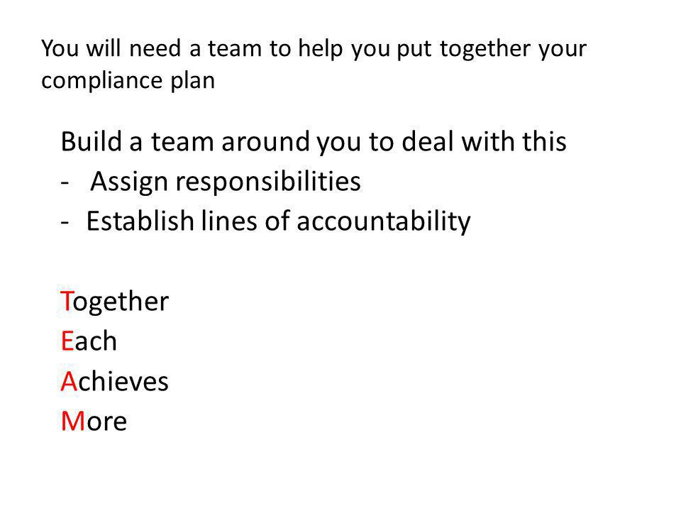 You will need a team to help you put together your compliance plan