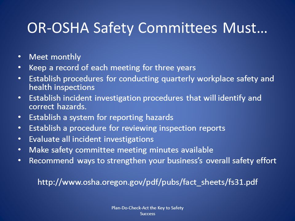 OR-OSHA Safety Committees Must…