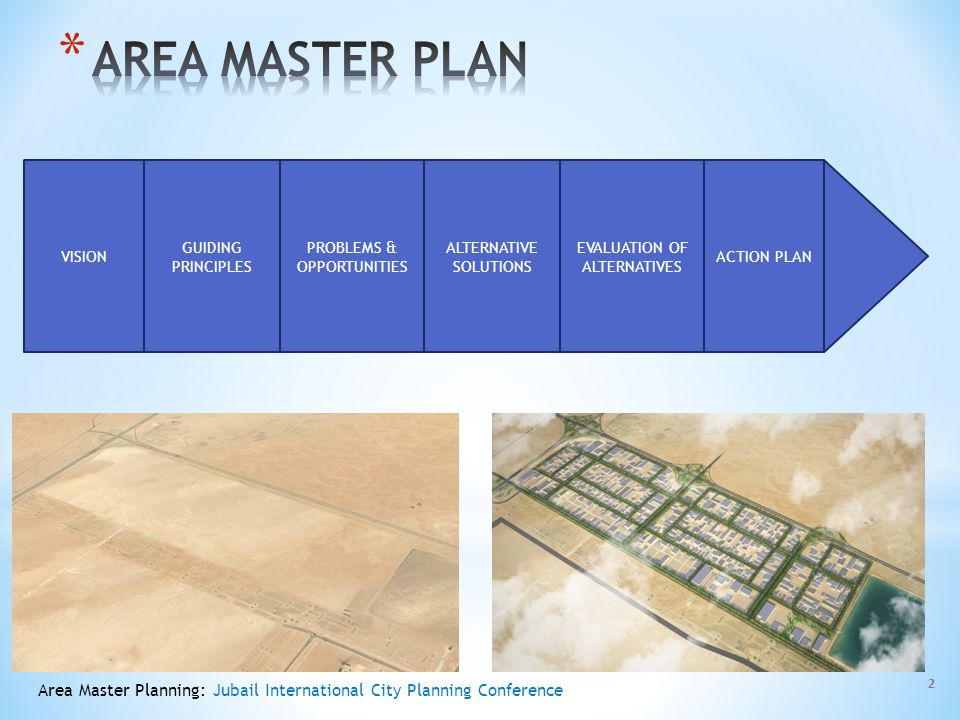 AREA MASTER PLAN VISION. GUIDING PRINCIPLES. PROBLEMS & OPPORTUNITIES. ALTERNATIVE SOLUTIONS. EVALUATION OF ALTERNATIVES.