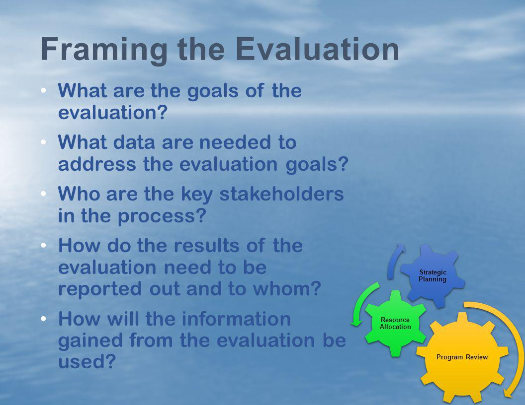 Framing the Evaluation