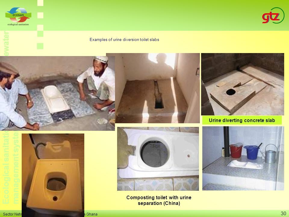 Examples of urine diversion toilet slabs