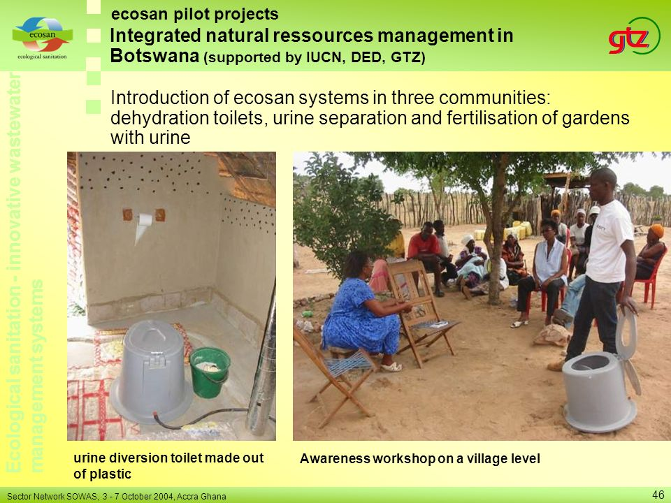 ecosan pilot projects Integrated natural ressources management in Botswana (supported by IUCN, DED, GTZ)